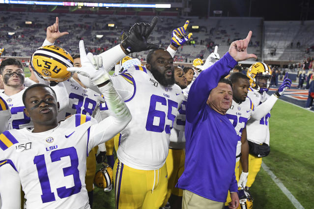 LSU is still No. 1 after beating Ole Miss in Week 12. (AP Photo/Thomas Graning)