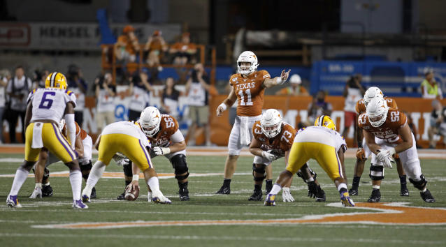 Texas Longhorns quarterback Sam Ehlinger #11 calls a play against the LSU Tigers Saturday Sept. 7, 2019 at Darrell K Royal-Texas Memorial Stadium in Austin, Tx. LSU won 45-38. ( Photo by Edward A. Ornelas )