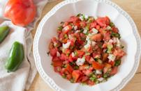 """<p>Pico de gallo needs no introduction, the tomato and onion based mixture makes appearances on tacos, in burritos and more. Serve it as a topping or use it as a salsa for dipping tortilla chips in. This no-frills recipe makes it work with anything. </p> <p><strong><a href=""""https://www.thedailymeal.com/best-recipes/easy-pico-de-gallo?referrer=yahoo&category=beauty_food&include_utm=1&utm_medium=referral&utm_source=yahoo&utm_campaign=feed"""" rel=""""nofollow noopener"""" target=""""_blank"""" data-ylk=""""slk:For the Pico de Gallo recipe, click here."""" class=""""link rapid-noclick-resp"""">For the Pico de Gallo recipe, click here.</a></strong></p>"""