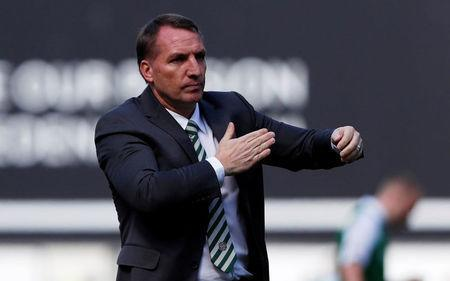 Soccer Football - Scottish Premiership - Hibernian v Celtic - Easter Road, Edinburgh, Britain - April 21, 2018 Celtic manager Brendan Rodgers looks dejected after the match REUTERS/Russell Cheyne