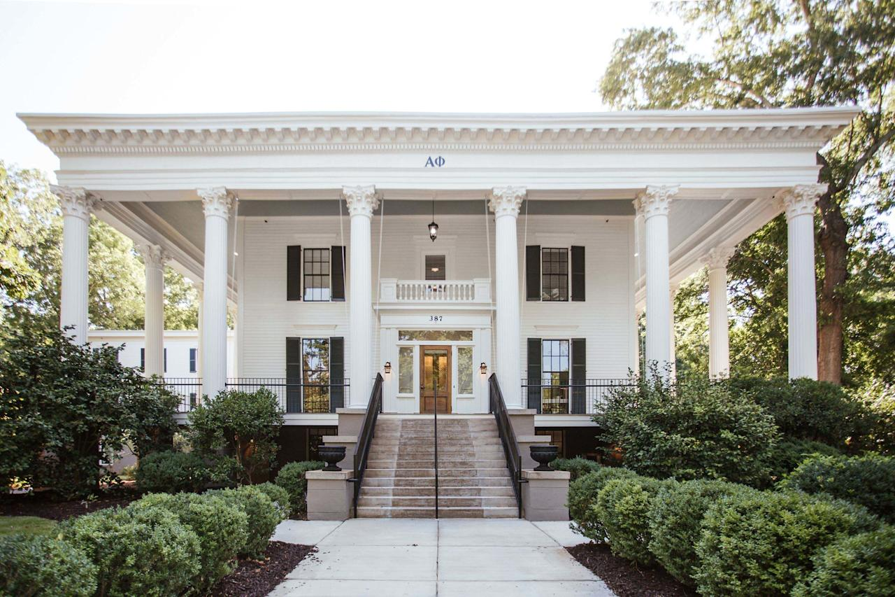 """<p>On September 15, 2019, Alpha Phi cut the ribbon for their new house. The sorority worked with interior design firm <a href=""""https://www.metalandpetal.com"""">Metal + Petal</a> and architectural firm <a href=""""https://arcollab.net"""">Architectural Collaborative</a> to create a one-of-a-kind Greek life facility. </p>"""