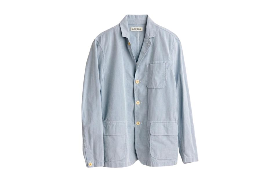 """$150, Alex Mill. <a href=""""https://www.alexmill.com/collections/unexpected-sale-mens/products/mill-blazer-in-striped-bedford-cord-in-blue-white"""" rel=""""nofollow noopener"""" target=""""_blank"""" data-ylk=""""slk:Get it now!"""" class=""""link rapid-noclick-resp"""">Get it now!</a>"""