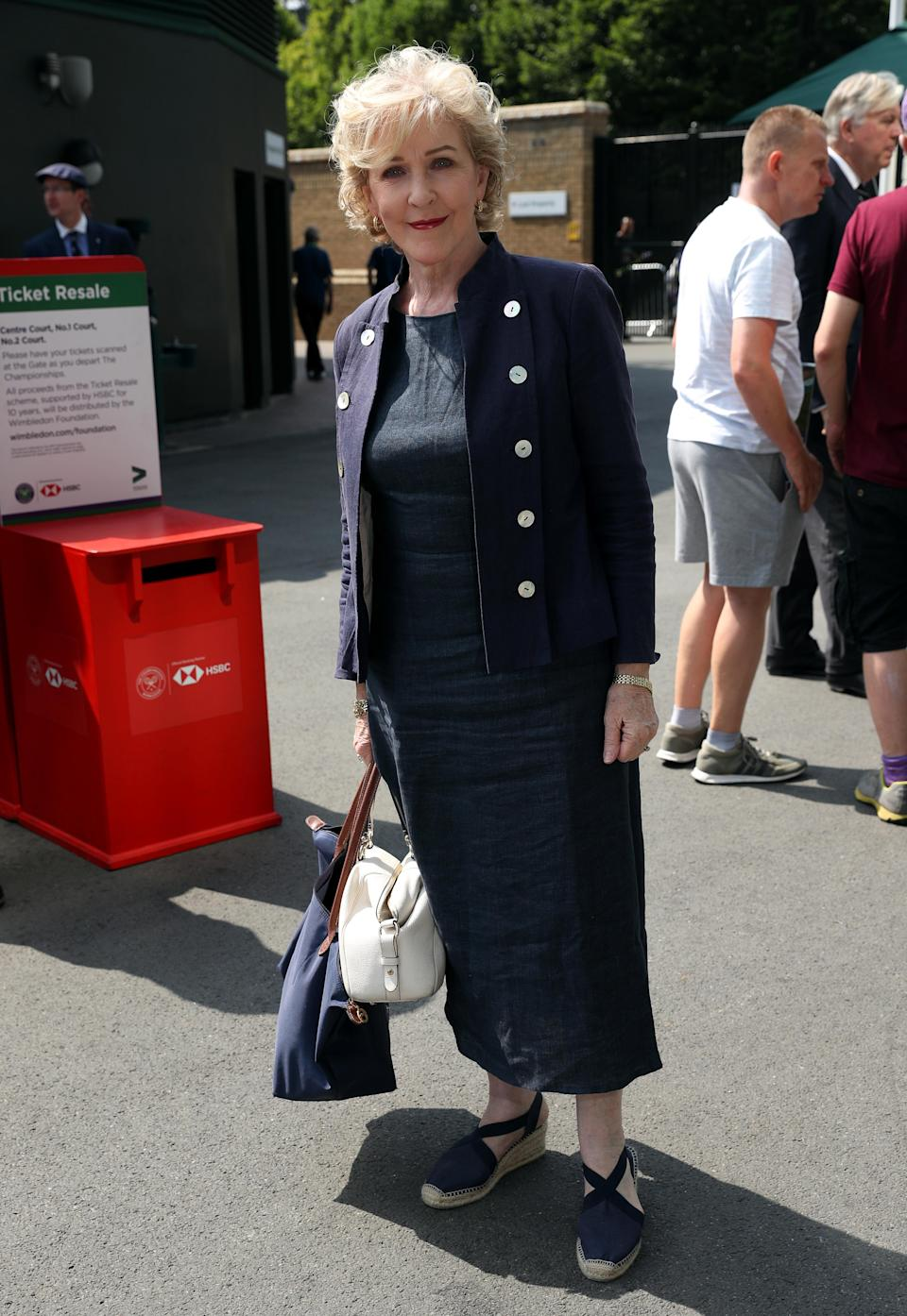 <p>Patricia Hodge made her debut at the 2018 tennis tournament in a navy-hued shift dress with a co-ordinating blazer and espadrilles – the Wimbledon shoe of choice this season. <em>[Photo: PA]</em> </p>