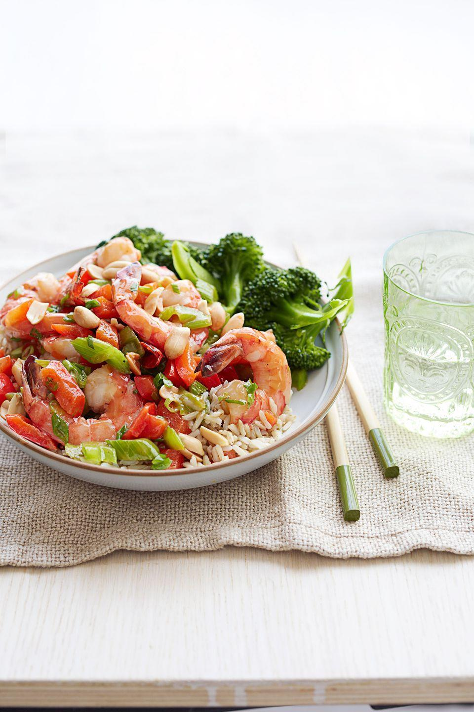 """<p>Our version is packed with flavor, calcium, fiber and vitamin C!<br></p><p><em><a href=""""https://www.goodhousekeeping.com/food-recipes/a15598/kung-pao-shrimp-recipe-ghk0214/"""" rel=""""nofollow noopener"""" target=""""_blank"""" data-ylk=""""slk:Get the recipe for Kung Pao Shrimp »"""" class=""""link rapid-noclick-resp"""">Get the recipe for Kung Pao Shrimp »</a></em></p>"""