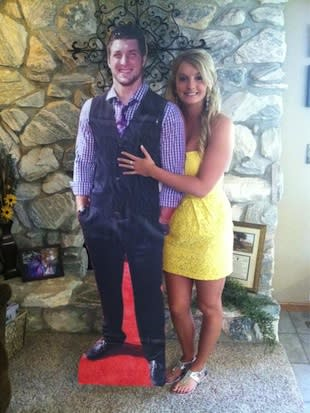 Rachel Bird with her Tim Tebow cutout — Twitter