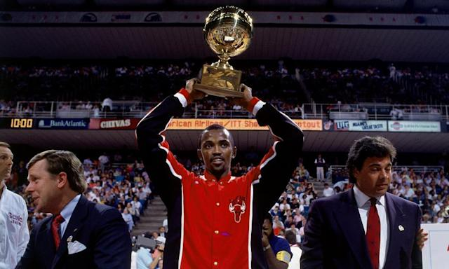 """<span class=""""element-image__caption"""">Craig Hodges wins the three-point contest in 1990.</span> <span class=""""element-image__credit"""">Photograph: Nathaniel S Butler/NBAE/Getty Images</span>"""