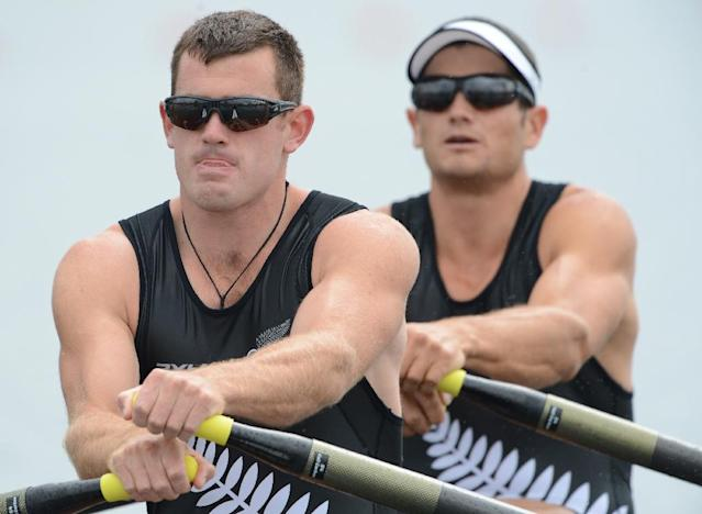 Joe Sullivan (L), a double sculls gold medalist at 2012 London Olympics, had spent plenty of time on the water in his rowing career, but found himself polishing his cycling skills when he came on board for Team New Zealand (AFP Photo/DAMIEN MEYER)