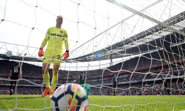 """Soccer Football - Premier League - Arsenal v West Ham United - Emirates Stadium, London, Britain - April 22, 2018 West Ham United's Joe Hart looks dejected after Arsenal's Alexandre Lacazette (not pictured) scored their fourth goal Action Images via Reuters/Tony O'Brien EDITORIAL USE ONLY. No use with unauthorized audio, video, data, fixture lists, club/league logos or """"live"""" services. Online in-match use limited to 75 images, no video emulation. No use in betting, games or single club/league/player publications. Please contact your account representative for further details."""