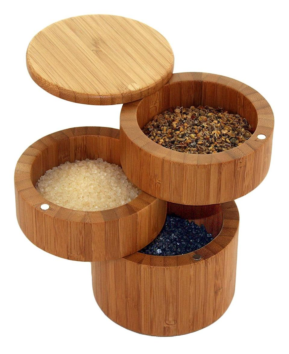 <p>If you're always shuffling to find the salt or spices when cooking, get this cool <span>Totally Bamboo Triple Salt Box</span> ($20).</p>