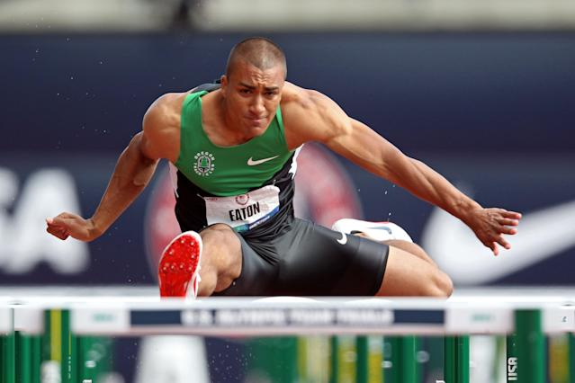 EUGENE, OR - JUNE 23: Ashton Eaton competes in the men's decathlon 110 meter hurdles during Day Two of the 2012 U.S. Olympic Track & Field Team Trials at Hayward Field on June 23, 2012 in Eugene, Oregon. (Photo by Andy Lyons/Getty Images)