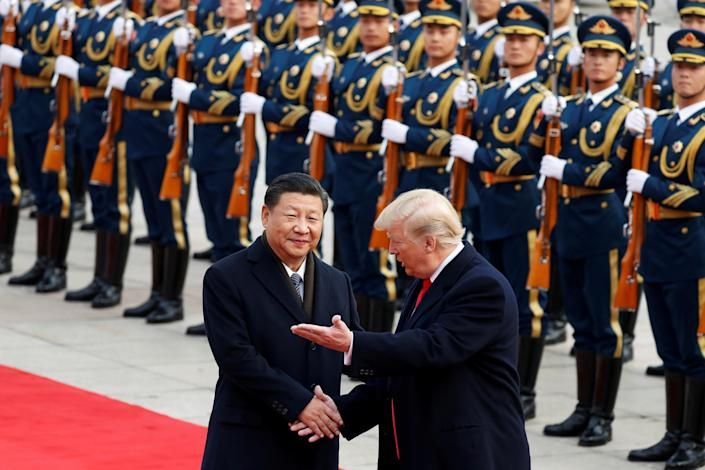 <p>President Donald Trump takes part in a welcoming ceremony with China's President Xi Jinping in Beijing, China, Nov. 9, 2017. (Photo: Damir Sagolj/Reuters) </p>