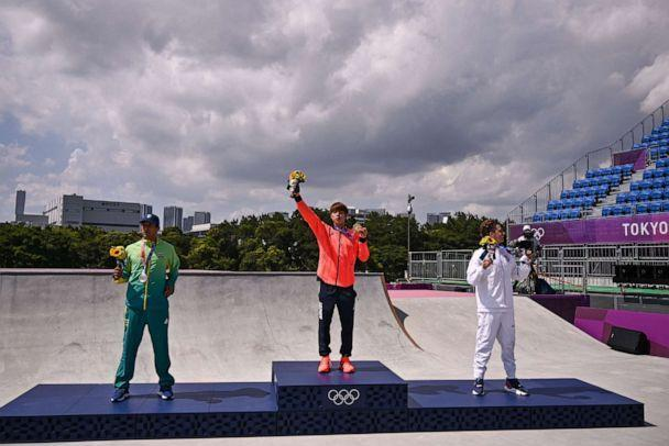PHOTO: Gold medallist Japan's Yuto Horigome, silver medallist Brazil's Kelvin Hoefler and bronze medallist Jagger Eaton of the U.S. pose on the podium at the end of the men's street during the Tokyo 2020 Olympic Games. (Jeff Pachoud/AFP via Getty Images)