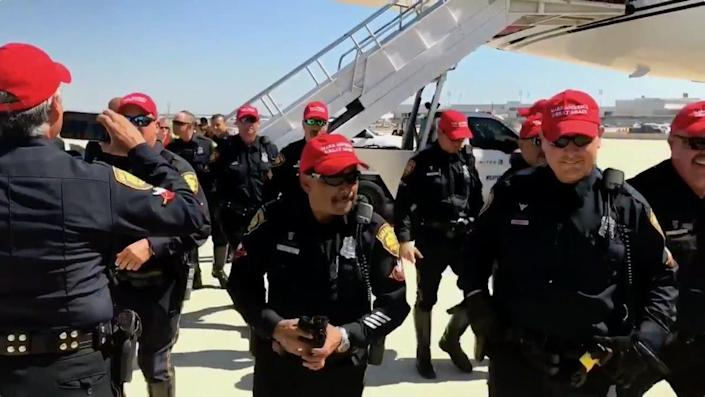 "San Antonio police officers who wore ""Make America Great Again"" hats on the job will be disciplined, according to Police Chief William McManus. (Photo: Screeshot)"