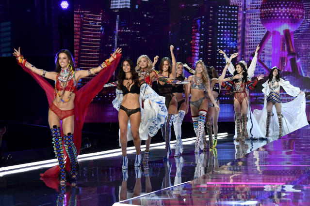 Models Alessandra Ambrosio, Lily Aldridge, Elsa Hosk, Josephine Skriver, Stella Maxwell, Martha Hunt, Liu Wen, and Ming Xi walk the runway during the 2017 Victoria's Secret Fashion Show in Shanghai. (Photo: Frazer Harrison/Getty Images for Victoria's Secret)