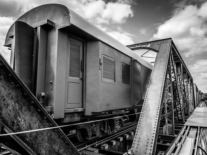 Kruger Shalati Lodge Train on the Bridge black and white