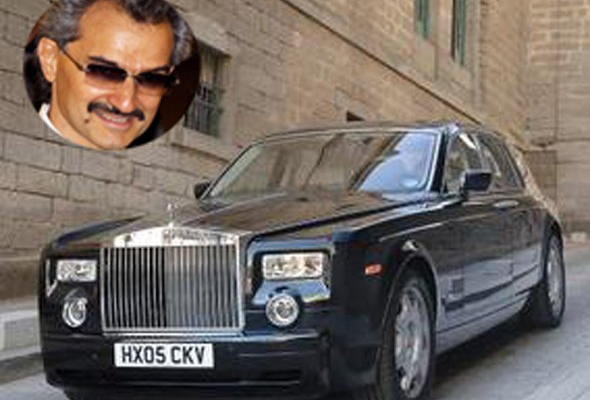 Prince Alwaleed Bin Talal Alsaud, member of the Saudi royal family, drives a Rolls-Royce Phantom. The entry level version of the prince's car costs $246,000, while an upscale version a royal would surely need is a cool $447,000. information via billionairecars.com and autoguide.com.