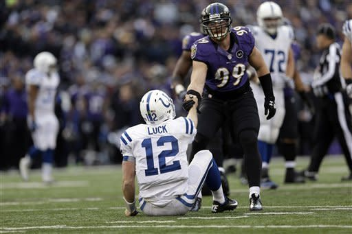 Indianapolis Colts quarterback Andrew Luck (12) is helped up by Baltimore Ravens outside linebacker Paul Kruger (99) during the second half of an NFL wild card playoff football game Sunday, Jan. 6, 2013, in Baltimore. The Ravens won 24-9. (AP Photo/Patrick Semansky)
