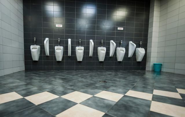 <p>A public toilet in the Kosovo capital of Pristina. (Photo: Armend Nimani/AFP/Getty Images) </p>