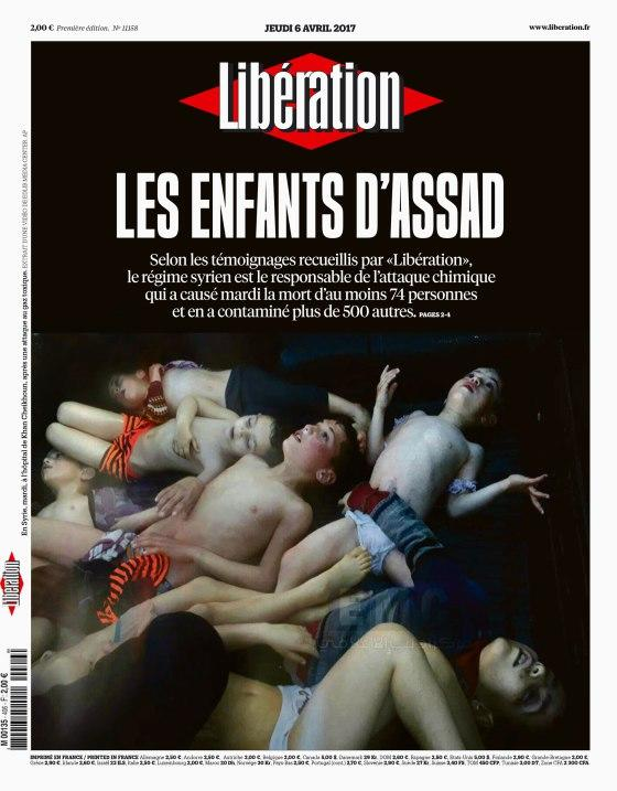 LibérationThe March 6 front page of Libération, a French newspaper. Its top headline reads: 'Assad's Children.'