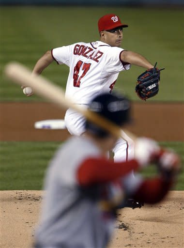 Washington Nationals starting pitcher Gio Gonzalez throws to a St. Louis Cardinals batter during the first inning of Game 5 of the National League division baseball series on Friday, Oct. 12, 2012, in Washington. (AP Photo/Pablo Martinez Monsivais)