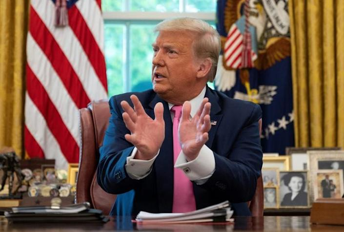 President Donald Trump, seen July 20 at the White House, is adopting a tough law and order stance in the face of protests against police violence (AFP Photo/JIM WATSON)