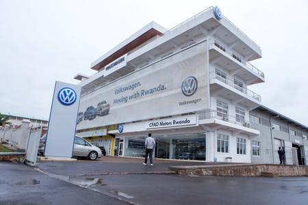 A man walks outside Volkswagen's car production plant in Kigali