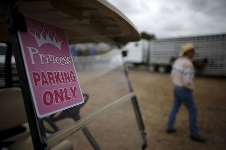 """A golf cart with a """"Princess parking only"""" sign is seen at the International Gay Rodeo Association's Rodeo In the Rock in Little Rock, Arkansas, United States April 26, 2015. REUTERS/Lucy Nicholson"""