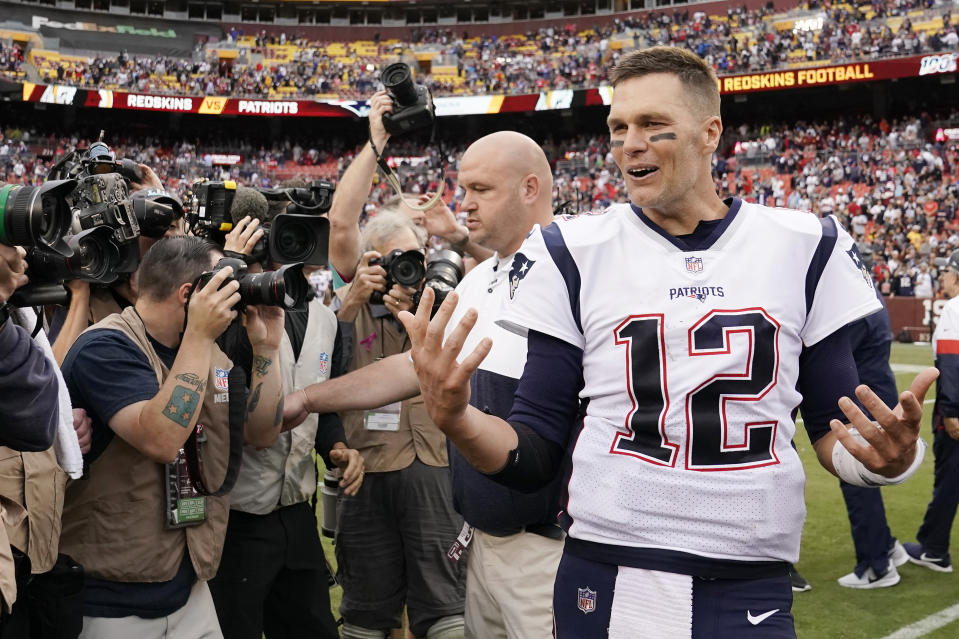 Tom Brady after the Patriots' 33-7 win at Washington in Week 5. (Getty Images)