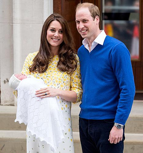 Prince William and Kate Middleton leave St Mary's Hospital with their new baby daughter Princess Charlotte on May 2, 2015
