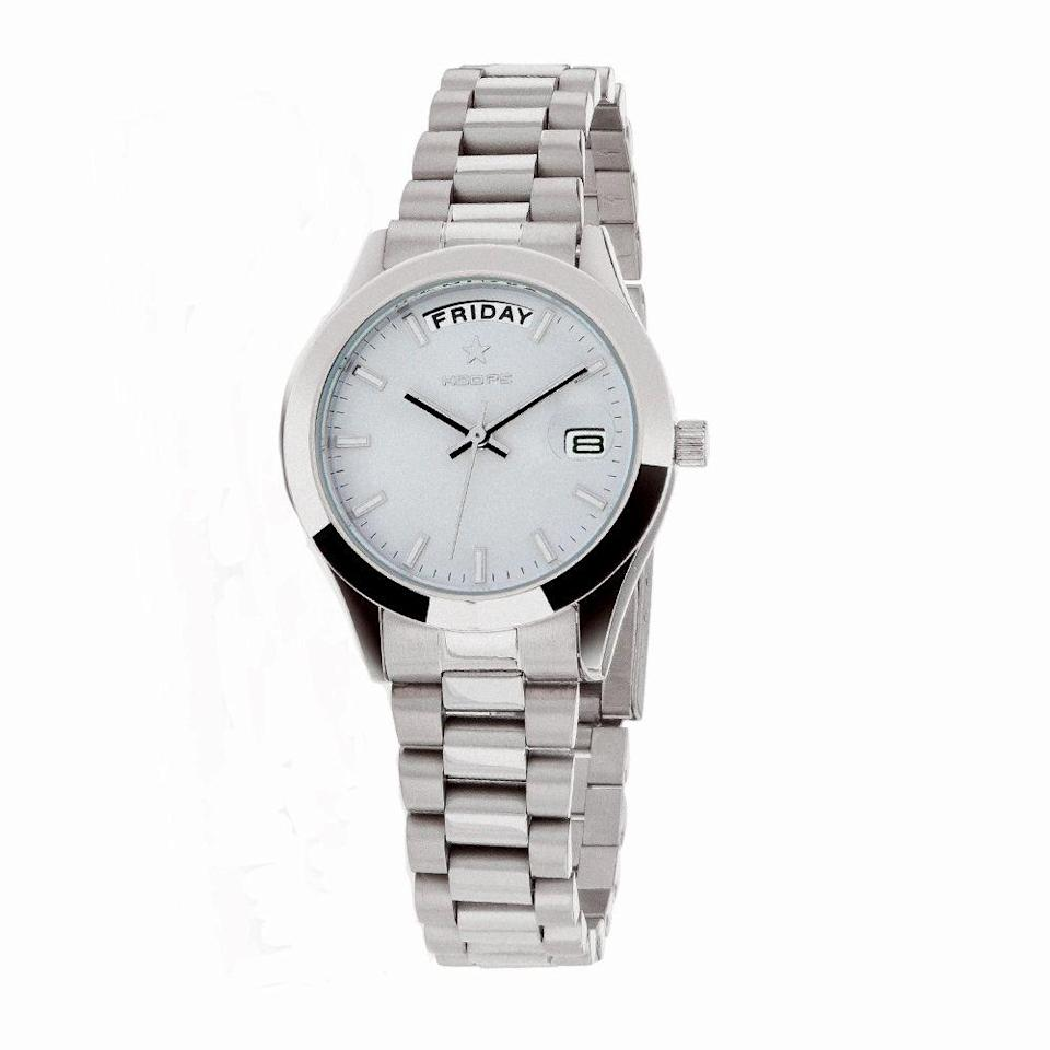 """<p>Di metallo silver, <em>Luxury Day</em> Date di <strong>Hoops</strong> (75 euro).</p><p><a class=""""link rapid-noclick-resp"""" href=""""https://www.hoopswatch.eu/index.php?route=product%2Fproduct&path=191&product_id=960"""" rel=""""nofollow noopener"""" target=""""_blank"""" data-ylk=""""slk:ACQUISTA ORA"""">ACQUISTA ORA</a></p>"""