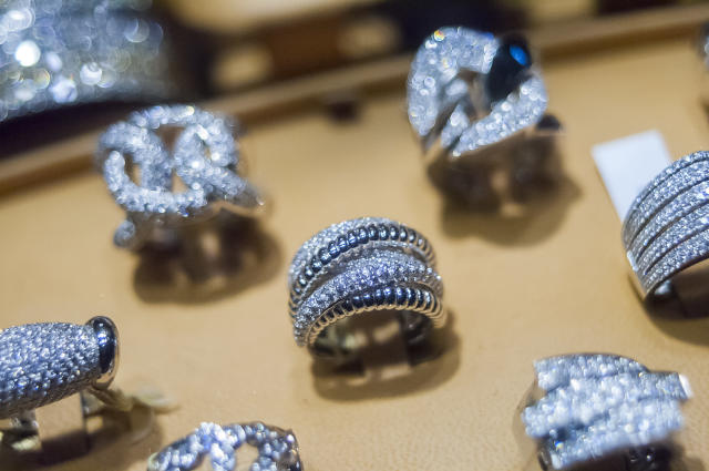 A display of diamonds in the window of a jewelry store on West 47th Street in New York. (Richard B Levine/PA)