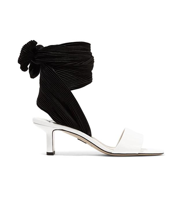 Paul Andrew Kogan glossed-leather and plissé-satin sandals, $373, net-a-porter.com.