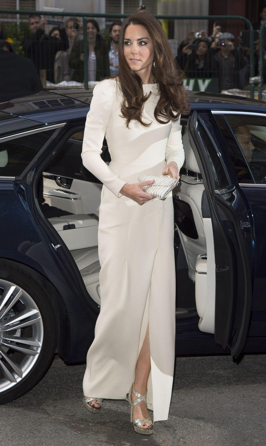 """<p>Back in 2012, Kate stepped out looking gorg for a dinner in London. While some of us were obsessed with her outfit, other fans noticed her choice of dark nail polish. At the time, the plum color was seen as breaking royal protocol. Fast forward to now, where royal reporter <a href=""""https://twitter.com/scobie"""" rel=""""nofollow noopener"""" target=""""_blank"""" data-ylk=""""slk:Omid Scobie"""" class=""""link rapid-noclick-resp"""">Omid Scobie</a> told <em><a href=""""https://www.harpersbazaar.com/celebrity/latest/a25462630/meghan-markle-dark-nail-polish-british-fashion-awards-royal-protocol/"""" rel=""""nofollow noopener"""" target=""""_blank"""" data-ylk=""""slk:Harper's Baazar"""" class=""""link rapid-noclick-resp"""">Harper's Baazar</a></em> recently there's actually no protocol on polish. Cool! </p>"""