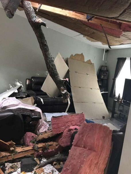 PHOTO: A Maryland family were startled when a tree crashed through the roof of their home. (Courtesy Jenn Stone)