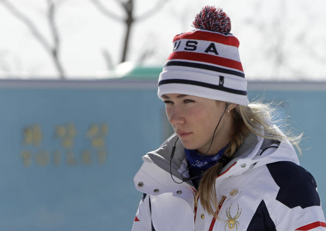 Mikaela Shiffrin waits for her training run in the women's downhill event at the PyeongChang Olympics.