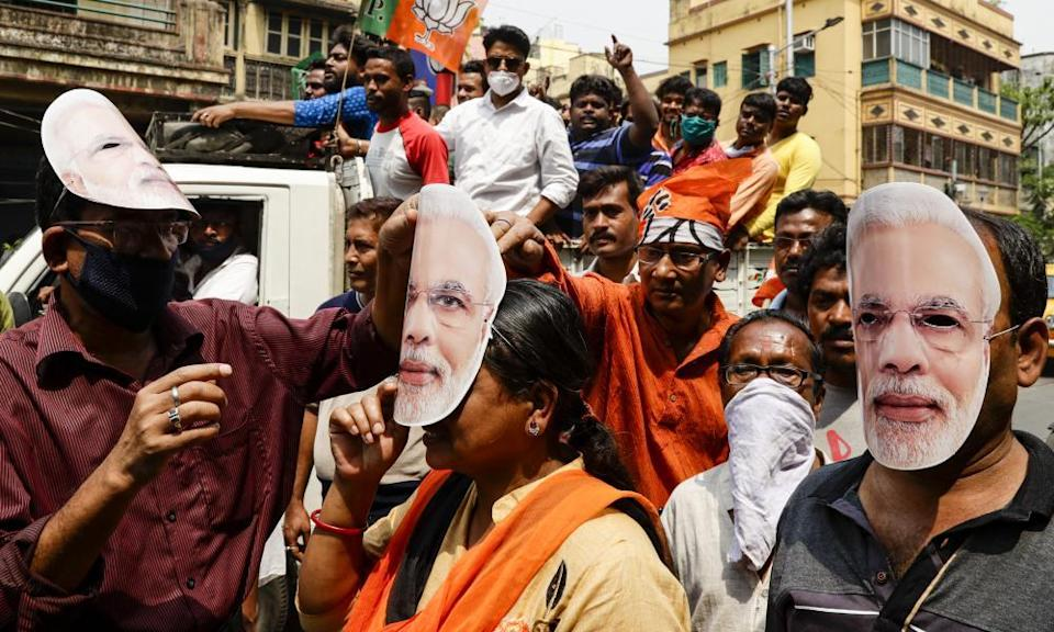 Modi supporters at an election rally in Kolkata in March