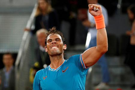 FILE PHOTO: Tennis - ATP 1000 - Madrid Open - The Caja Magica, Madrid, Spain - May 10, 2019 Spain's Rafael Nadal celebrates winning his quarter final match against Switzerland's Stan Wawrinka REUTERS/Sergio Perez