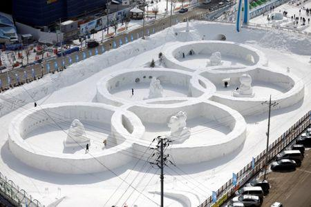 An ice sculpture of the Olympic rings is seen during the Pyeongchang Winter Festival in Pyeongchang