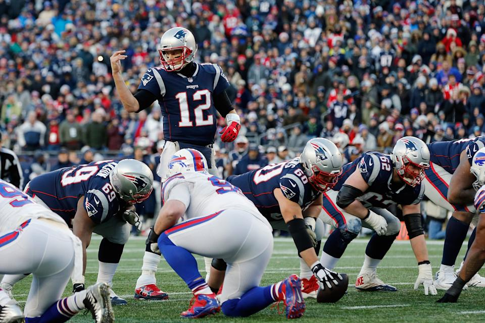 FOXBOROUGH, MA - DECEMBER 23:  Tom Brady #12 of the New England Patriots communicates at the line of scrimmage during the second half against the Buffalo Bills at Gillette Stadium on December 23, 2018 in Foxborough, Massachusetts.  (Photo by Jim Rogash/Getty Images)