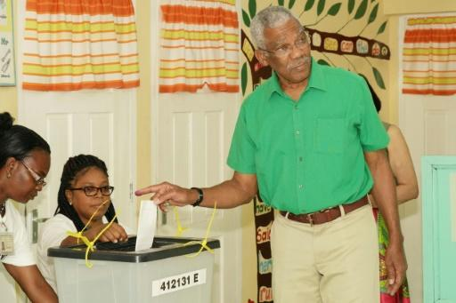 Presidential candidate David Granger casts his vote, in Pearl, Guyana