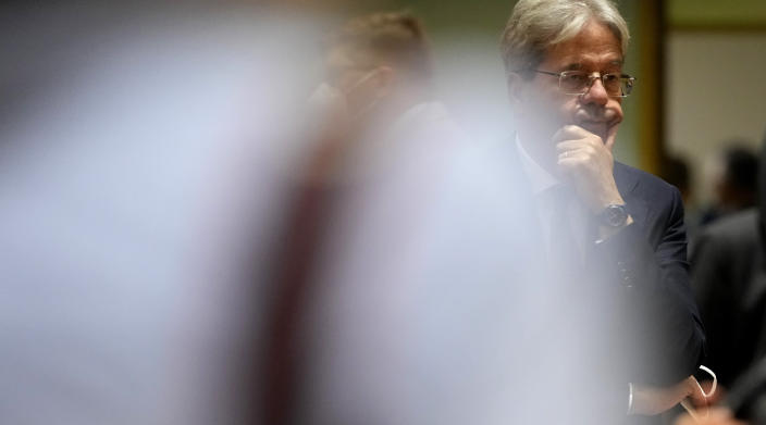 European Commissioner for Economy Paolo Gentiloni attends a meeting of eurogroup finance ministers at the European Council building in Brussels on Monday, July 12, 2021. (AP Photo/Virginia Mayo)