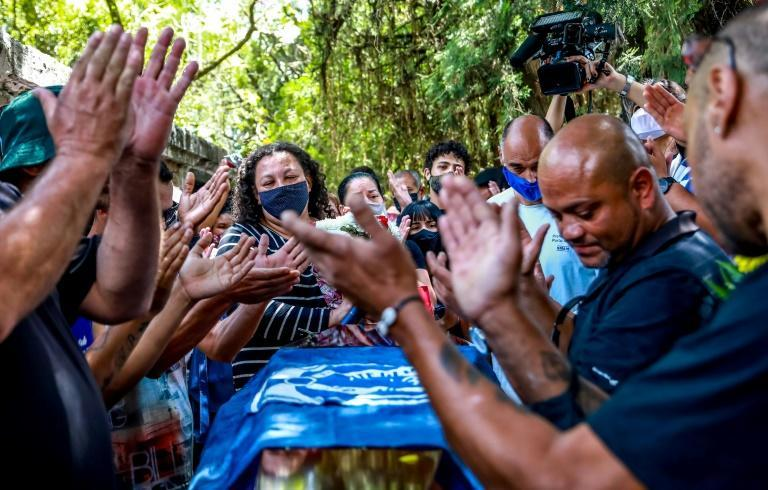 Relatives and friends of Joao Alberto Silveira Freitas - beaten to death by white security guards at a Carrefour supermarket - gathered at his funeral in Porto Alegre on November 21, 2020