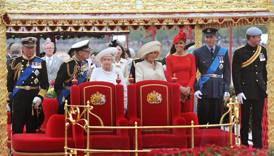 Back in 2012, the Duchess of Cambridge opted for a red outfit in order for the spotlight to focus on Queen Elizabeth II [Photo: Getty]
