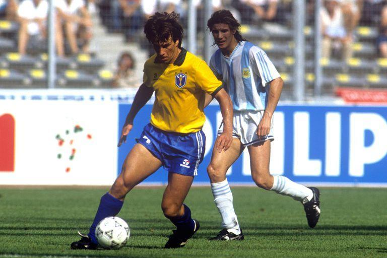 Dunga in action for Brazil, watched by Argentina's Claudio Caniggia.   (Photo by Peter Robinson - PA Images via Getty Images)
