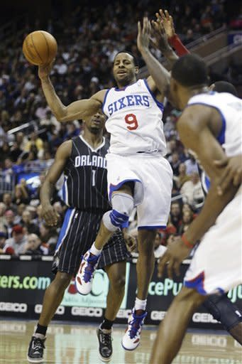 Philadelphia 76ers' Andre Iquodala (9) looks to pass against the Orlando Magic in the second half of an NBA basketball game, Monday, Jan. 30, 2012, in Philadelphia. The 76ers won 74-69. (AP Photo/H. Rumph Jr )