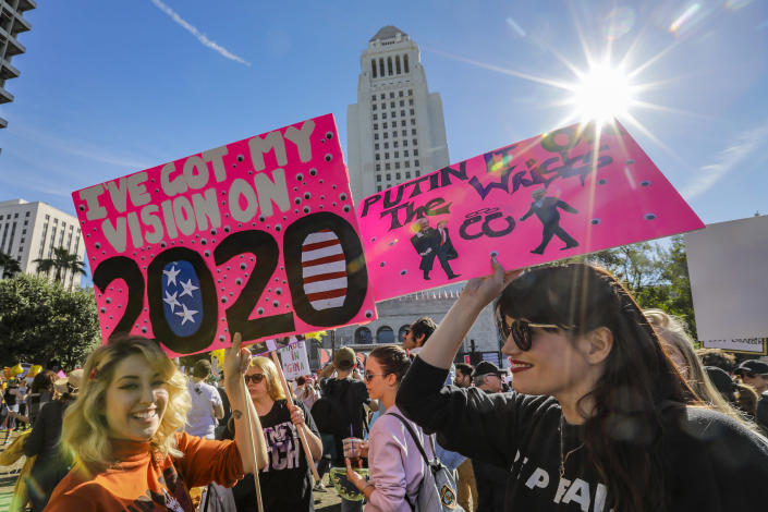 Thousands of people descend on downtown Los Angeles for 3rd Annual Women's March, Jan. 19, 2019 in Los Angeles, Calif. (Photo: Irfan Khan/Los Angeles Times via Getty Images)