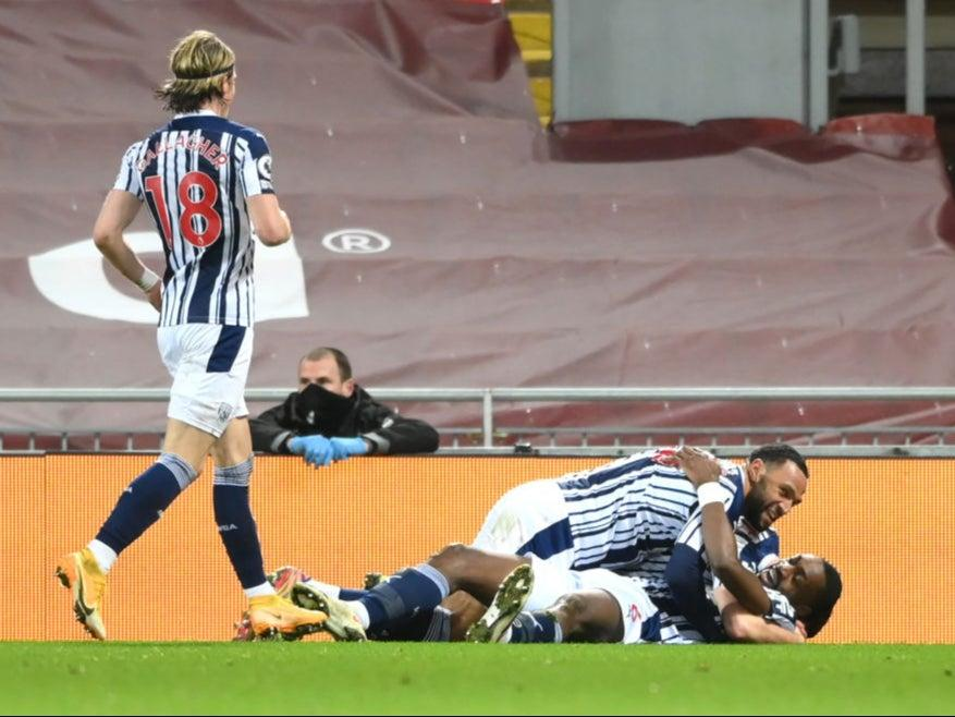 <p>The Baggies celebrate after Ajayi equalises</p>Getty