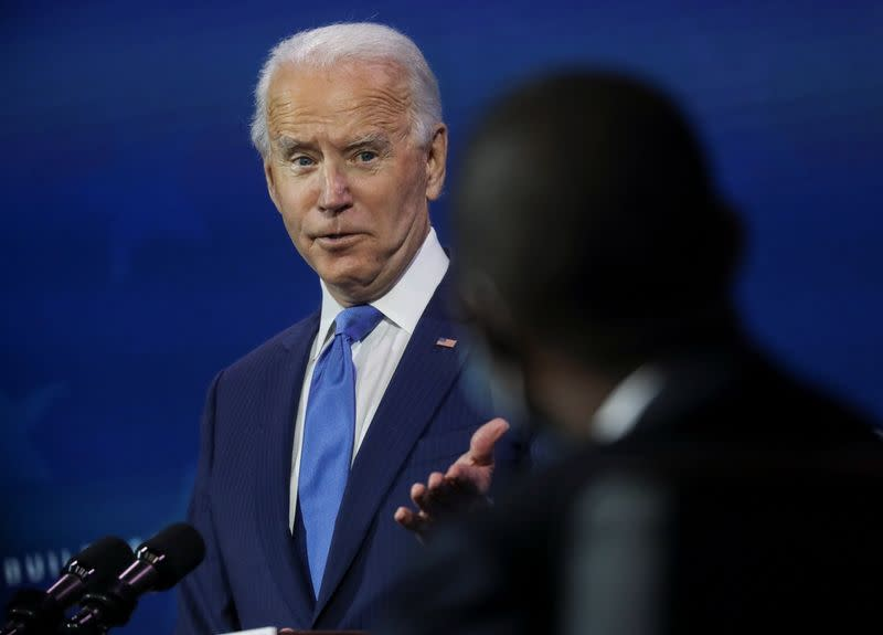 U.S. President-elect Joe Biden announces members of his economic policy team in Wilmington, Delaware