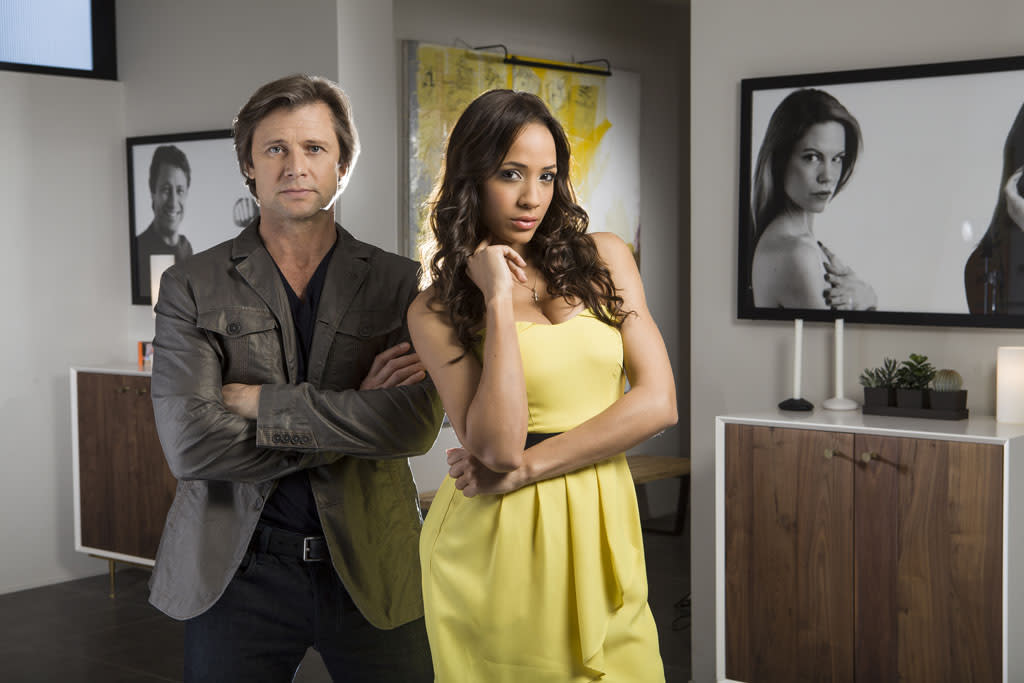 "Grant Show and Dania Ramirez in the Lifetime series ""Devious Maids."""