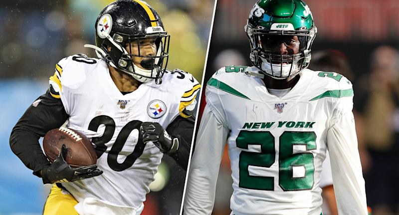 Is James Conner or Le'Veon Bell the better fantasy option this season? (Photo by Yahoo Sports graphics team)